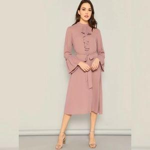 Shein Bell Sleeve Jabot Midi Dress